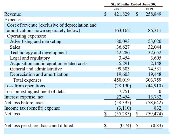 TDOC 2020Q2 營收及利潤分析表