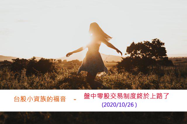 台股小資族的福音-盤中零股交易制度終於上路了(2020/10/26)